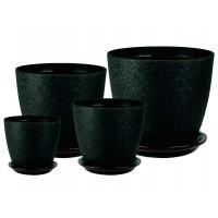 Горшки для цветов керамические с поддонами в комплекте из 4-х «Бутон Винил черный» ВН 08