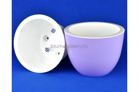 Кашпо для цветов пластиковое двойное без поддона и дренажного отверстия Орион 3,5л (лаванда) 043