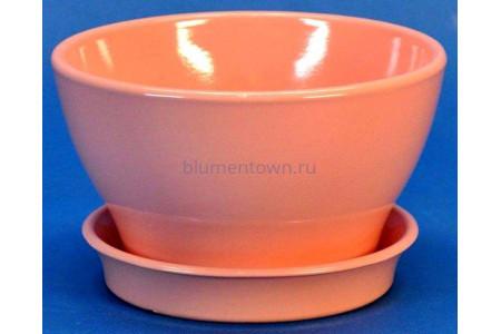 Горшок для цветов керамический с поддоном Фиалочница КП (13см) коралловый