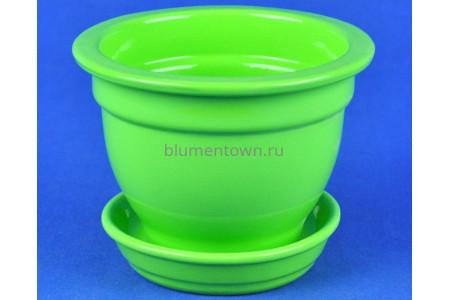 Горшок для цветов керамический с поддоном Фиалочница 0,5л глянец лайм