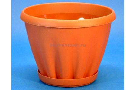 Горшок для цветов пластиковый с поддоном Знатный 3,9л (терракотовый)