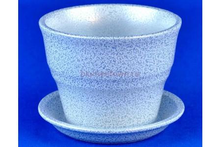 Горшок для цветов керамический с поддоном Колибри бел/сер.10,5см ГЛ808/1