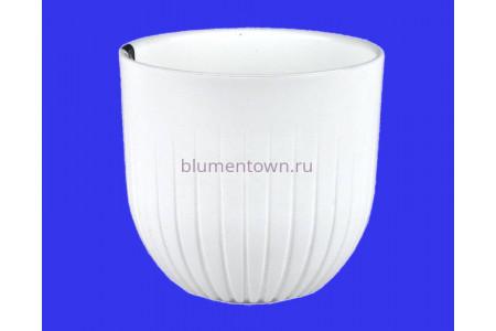 Кашпо пластиковое двойное без поддона и дренажного отверстия Альфа 2,9л (бел) 550