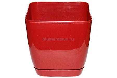 Горшок для цветов пластиковый с поддоном Toscana квадр.19см (красн.металл) 0734-006
