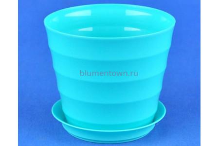 Горшок для цветов пластиковый с поддоном Лаура с под. 0,7л (бирюза) 151