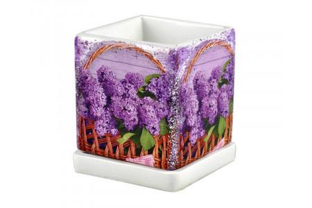 Горшок для цветов керамический с поддоном Кубик d12см (NK31/1)
