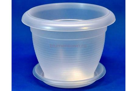 Горшок для цветов пластиковый ТЕРРА с под. 2,3л  (прозр) Э 238