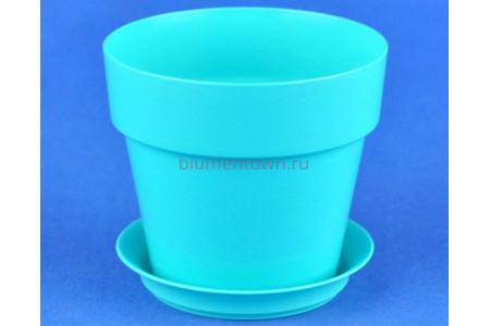Горшок для цветов пластиковый с поддоном Протея 0,7л с под. (бирюза)