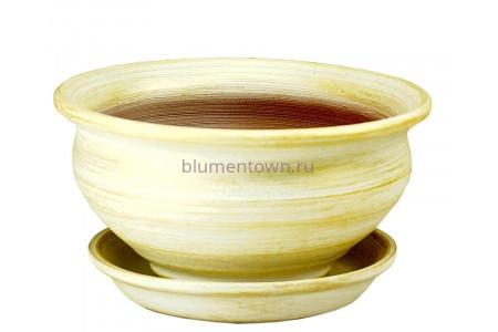 Горшок для цветов керамический с поддоном «Фиалочница №1 бел/зол» 19см 3-06 32-106