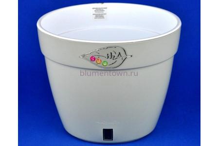 Кашпо двойное пластиковое без поддона АСТИ  12л  (серый-белый)