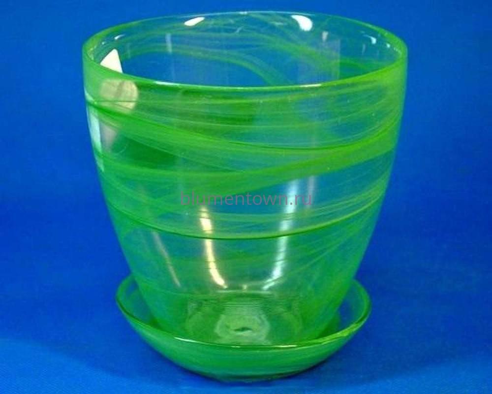 Горшок для орхидеи из стекла  «№4 алебастр  зеленый»