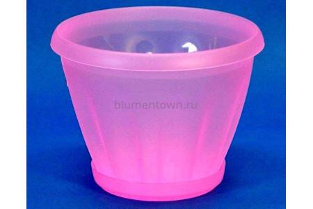 Горшок для цветов пластиковый с поддоном Знатный 1л (прозрачно-красный)