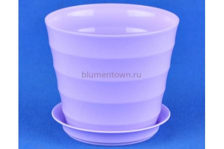 Горшок для цветов пластиковый с поддоном Лаура с под. 0,7л (лаванда) 175