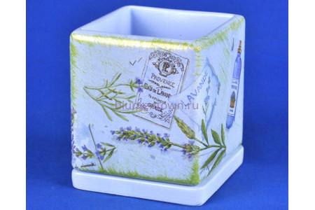 Горшок для цветов керамический с поддоном Кубик d12/h13см (NK26/1)