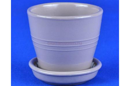 Горшок для цветов керамический с поддоном Ведро 5 глянец аметист 0,25л