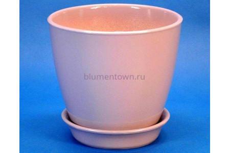 Горшок для цветов керамический с поддоном Виктория КП (13см) пудровый