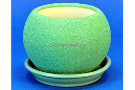 Горшок для цветов керамический с поддоном Шар 0,4л шелк оливка