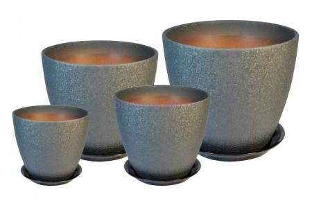 Горшки для цветов керамические в комплекте «ВН 05 Бутон ВИНИЛ серый» из 4-х