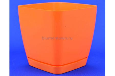 Горшок для цветов пластиковый с поддоном Toscana квадр. 2,5л с под.(ярк.оранж) (054)