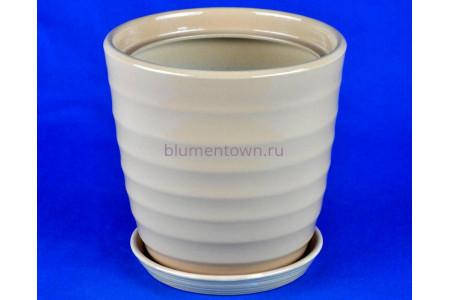 Горшок для цветов керамический поддоном Кольца d17см (беж)