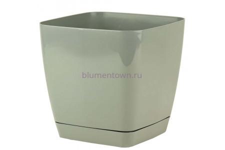 Горшок для цветов пластиковый с поддоном Toscana квадр. 5л с под.(серое) (0734-059)