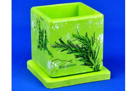 Горшок для цветов керамический с поддоном Кубик d12/h13см NK 20/1