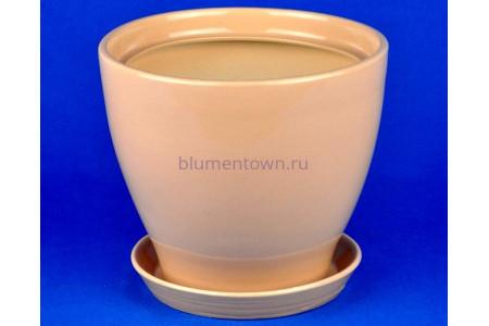 Горшок для цветов керамический с поддоном Конус №4 d18см (беж)