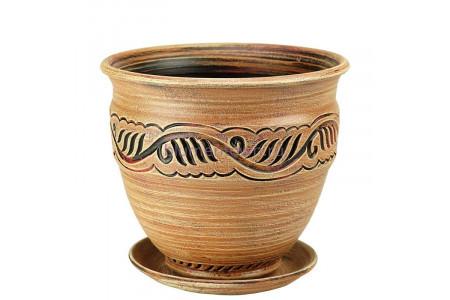 Горшок для цветов керамический с поддоном Неаполь вьюн 3 беж. 70-301  5-01