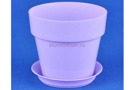 Горшок для цветов пластиковый с поддоном Протея 0,7л с под. (лаванда)