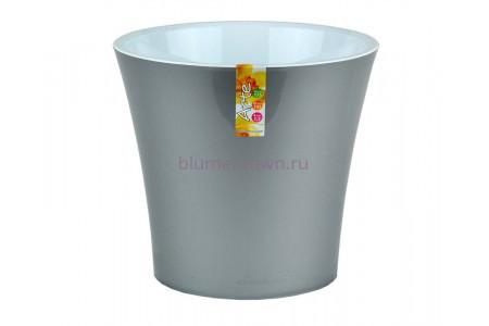 Кашпо пластиковое двойное без поддона и дренажного отверстия АРТЕ  3,5л (металлик-белый) э 419