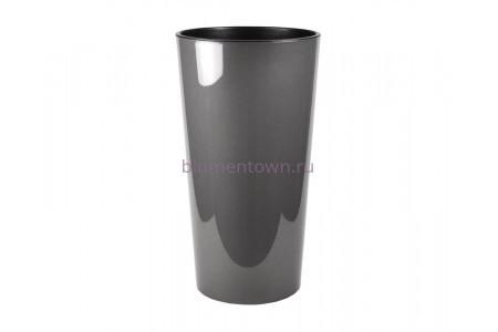 Кашпо со вставкой пластиковое без поддона и дренажного отверстия Lilia 40x40x75см  (антрацит) 549-82