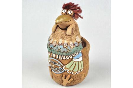 Кашпо керамическое без поддона и дренажного отверстия Птица счастья (петушок)