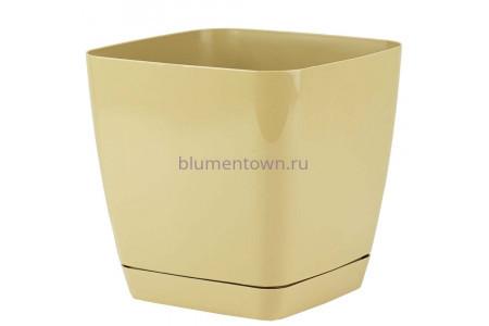 Горшок для цветов пластиковый с поддоном Toscana квадр.19см (кофе) 0734-002