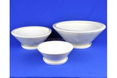 Горшки для цветов керамические с поддоном Пекин кмпт из 3-х (белый)