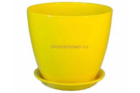 """Горшок для цветов керамический с поддоном """"Бутон"""" 18см Глянец желтый ГЛ 02/3"""