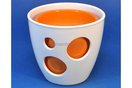 Кашпо керамическое двойное «ВК из 2-х КП (20-18см) белый-оранжевый»