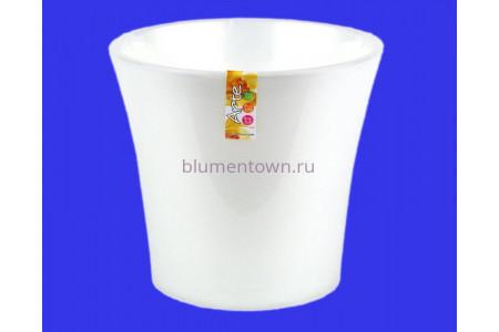 Кашпо пластиковое двойное без поддона и дренажного отверстия АРТЕ  2л (жемчуг-прозр.) э 416