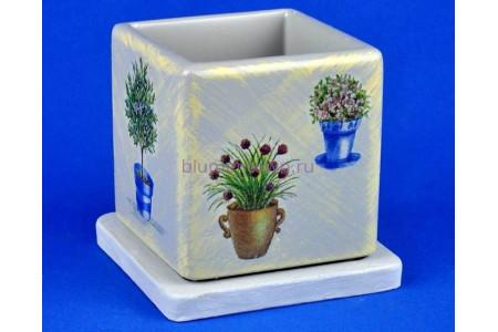 Горшок для цветов керамический с поддоном Кубик d12/h13см NK 23/1