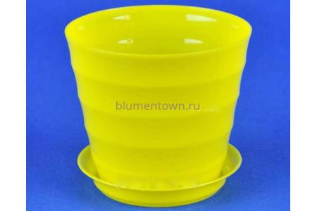 Горшок для цветов пластиковый с поддоном Лаура с под. 0,7л (жел) 137