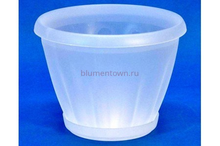 Горшок для цветов пластиковый с поддоном Знатный 1л (прозрачный)