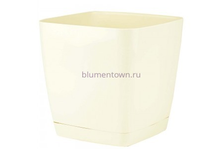 Горшок для цветов пластиковый с поддоном Toscana квадр.11л с под.(крем) (0736-001)