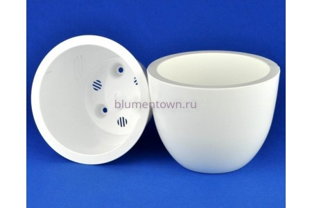 Кашпо для цветов пластиковое двойное без поддона и дренажного отверстия Орион 3,5л (бел) 039