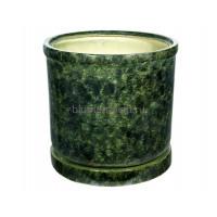 Горшок для цветов керамический с поддоном «Цилиндр №8» зелёный 57л
