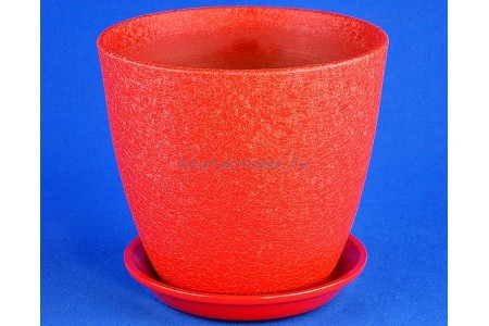 Горшок для цветов керамический с поддоном Винил красный 18см ВН 03/3