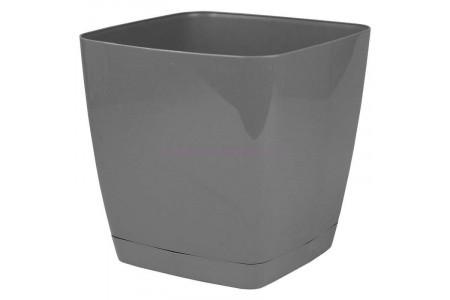 Горшок для цветов пластиковый с поддоном Toscana квадр.25см (серое) 0736-059