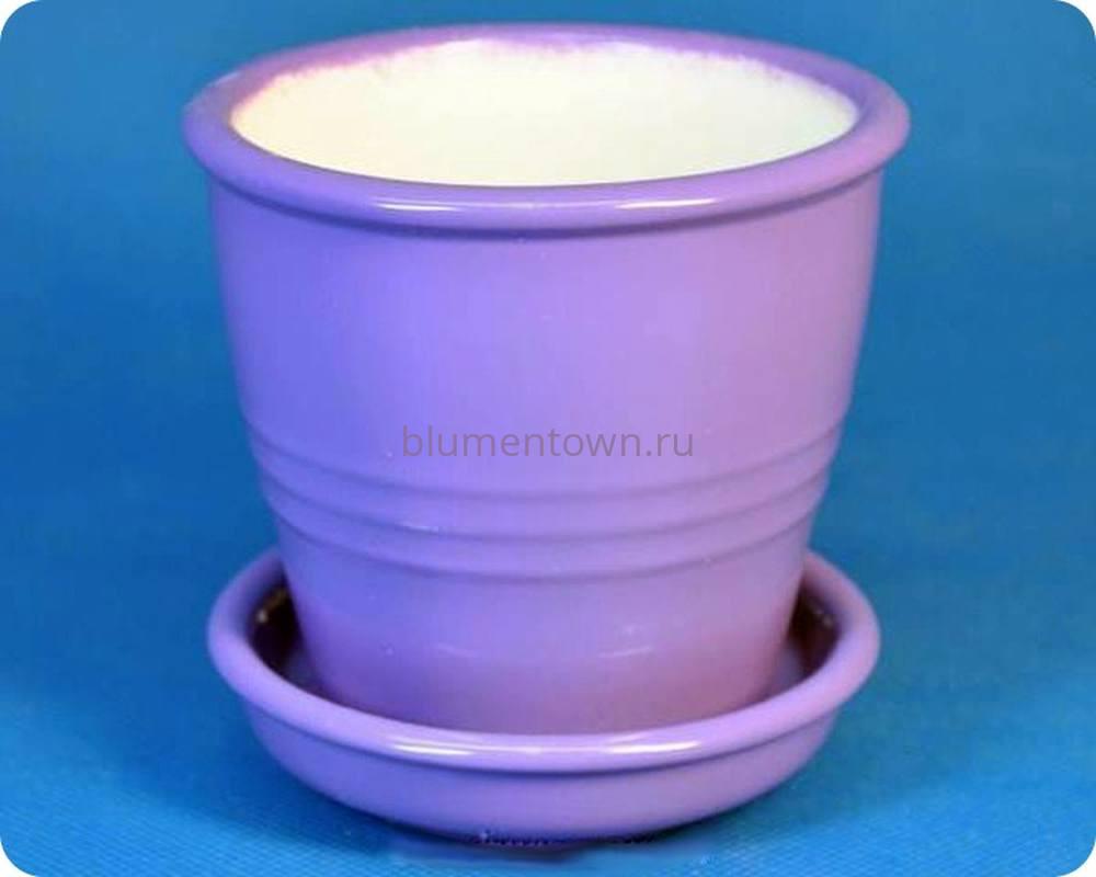 Горшок для цветов керамический с поддоном «Ведро №5 глянец сирень» 0,25л
