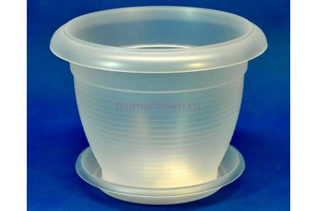 Горшок для цветов пластиковый ТЕРРА с под.4л  (прозр) Э 239