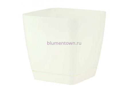 Горшок для цветов пластиковый с поддоном Toscana квадр. 5л с под.(бел) (0734-011)