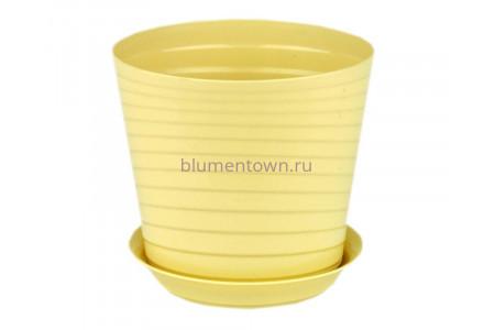 Горшок для цветов пластиковый с поддоном Верона с под.11 (крем) 0662