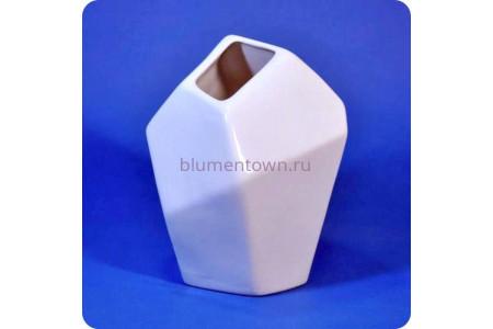 174 Ваза керамическая для сухоцветов «Грани №2 белая»